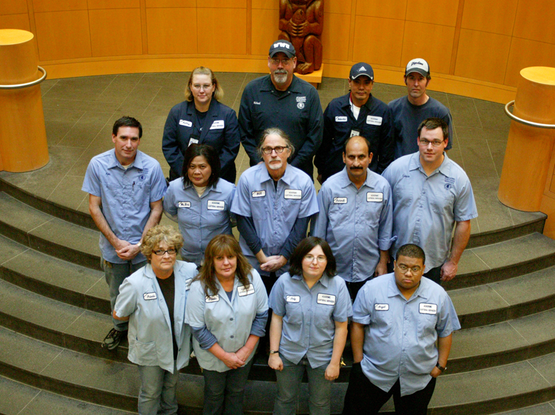A few members of the 2009 Academic Custodial Services team pose for a photo in honor of their winning the Grand Award in the Universities category of the 2009 Green Cleaning Award for Schools & Universities, sponsored by American School & University magaz