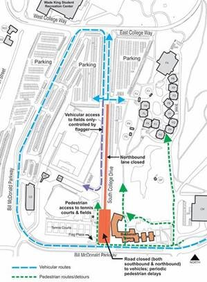 Buchanan towers construction update and south college drive road closure