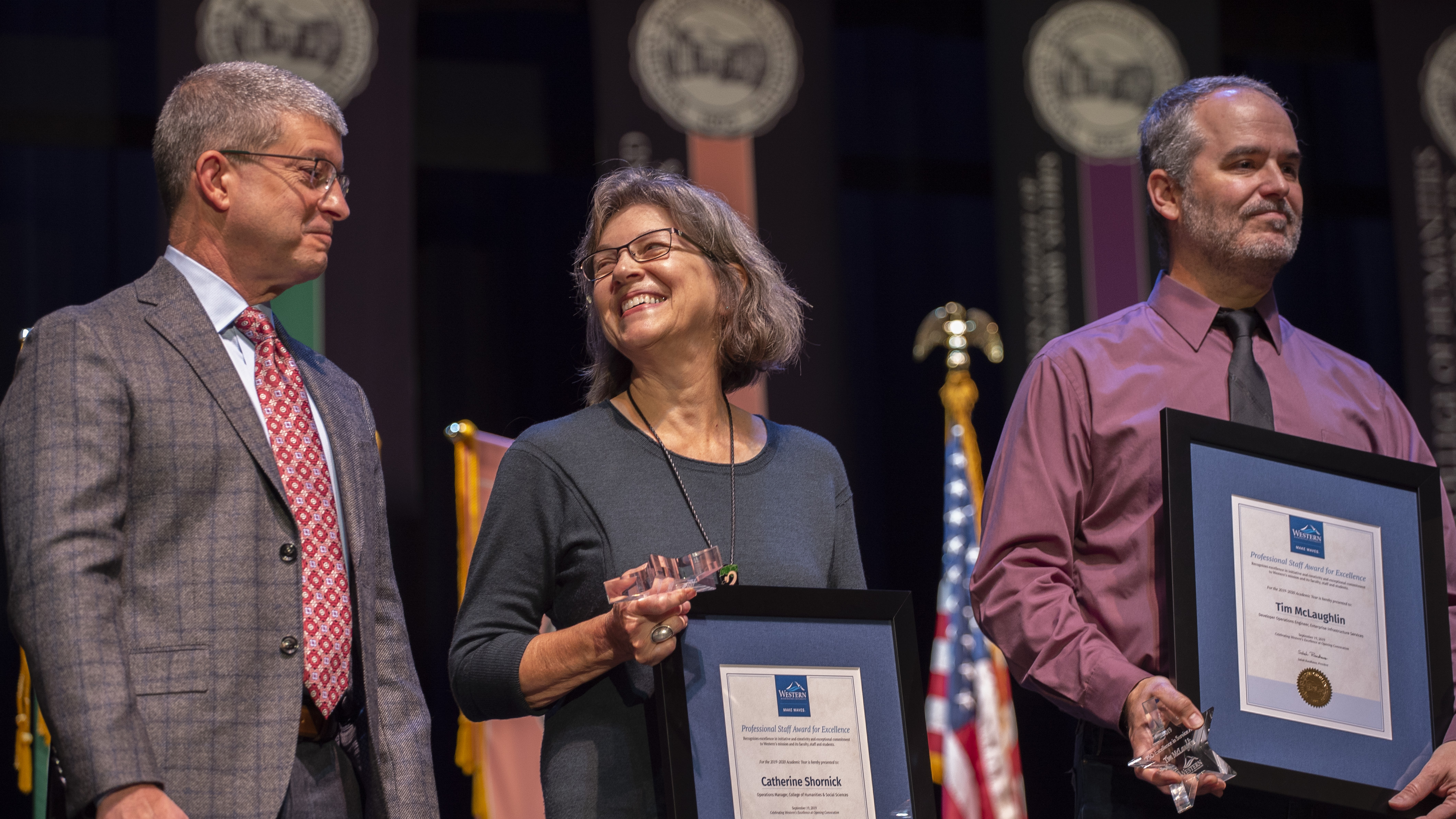 image from fall convocation as awardees pick up their plaques