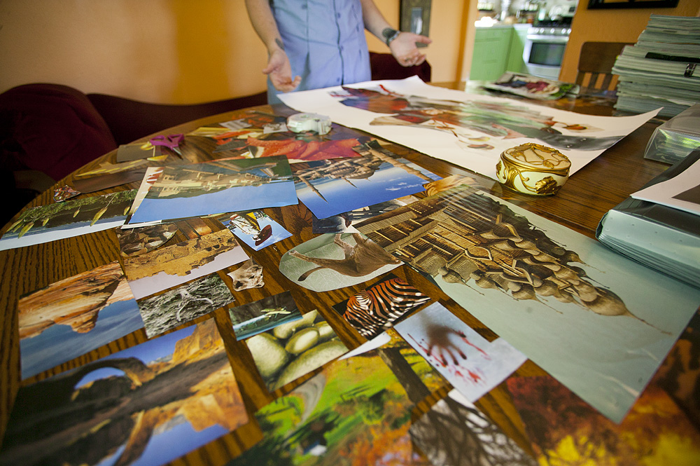 Katy Frank, 32, a custodian at Western Washington University, talks about the mindset she has when she creates collage pieces in her Bellingham home. Photo by Matthew Anderson   WWU