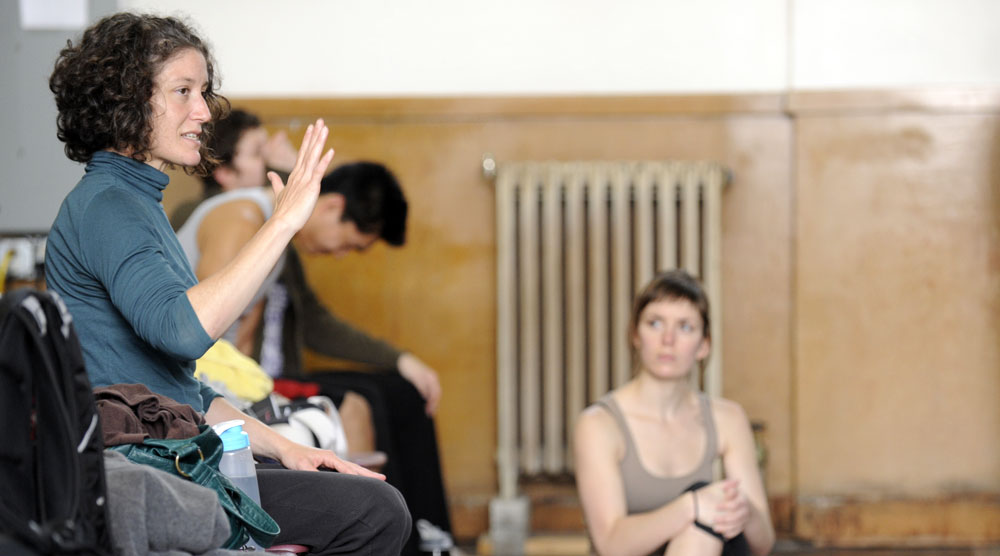Western Washington University faculty member Pam Kuntz gives pointers to students during a recent dance class. File photo by Rachel Bayne for WWU
