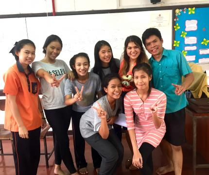 Western alumna Polly Woodbury, third from right, in Thailand on her student Fulbright.