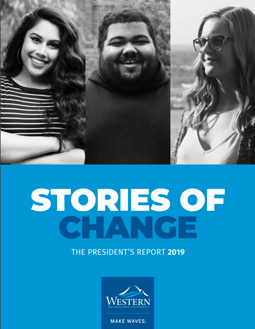 "Cover of ""Stories of Change"" features portraits of three Western students"