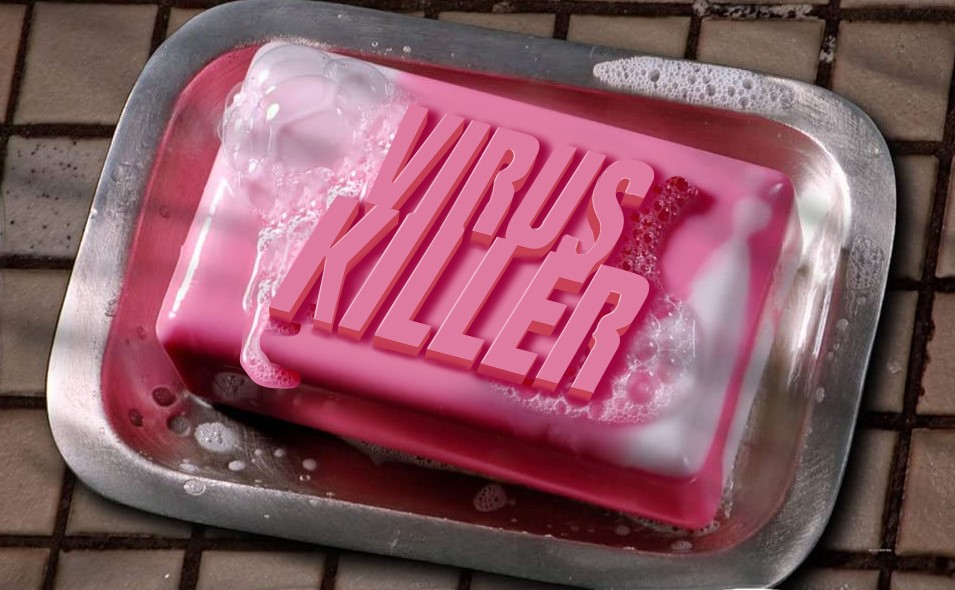 """a bar of soap with the words """"virus killer"""" on its top surface"""