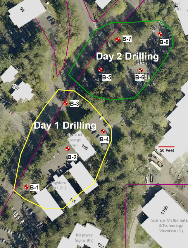 drilling locations near Highland Hall this week