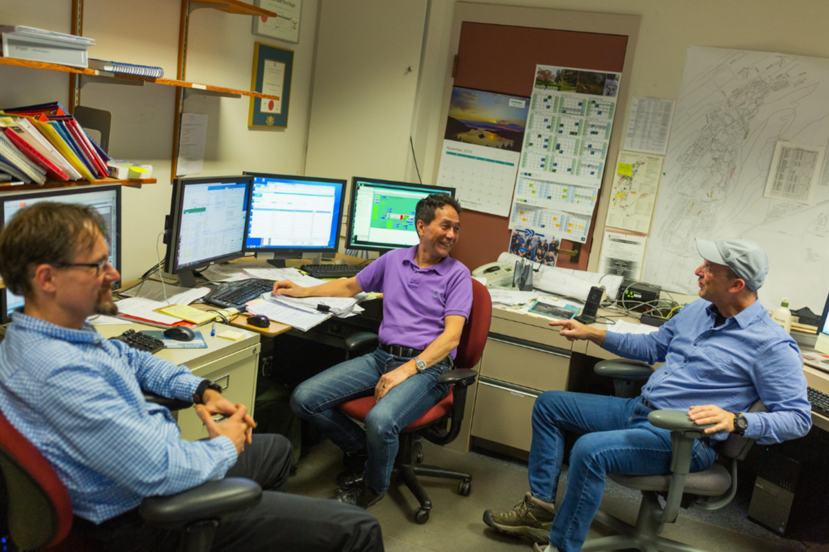 According to WWU's Scott Dorough, campus Building Automation Center (BAC) personnel Chris Hadley, Don Bergler, and Thomas Trebacz, above, were key to optimizing operations to better coincide with building schedules.