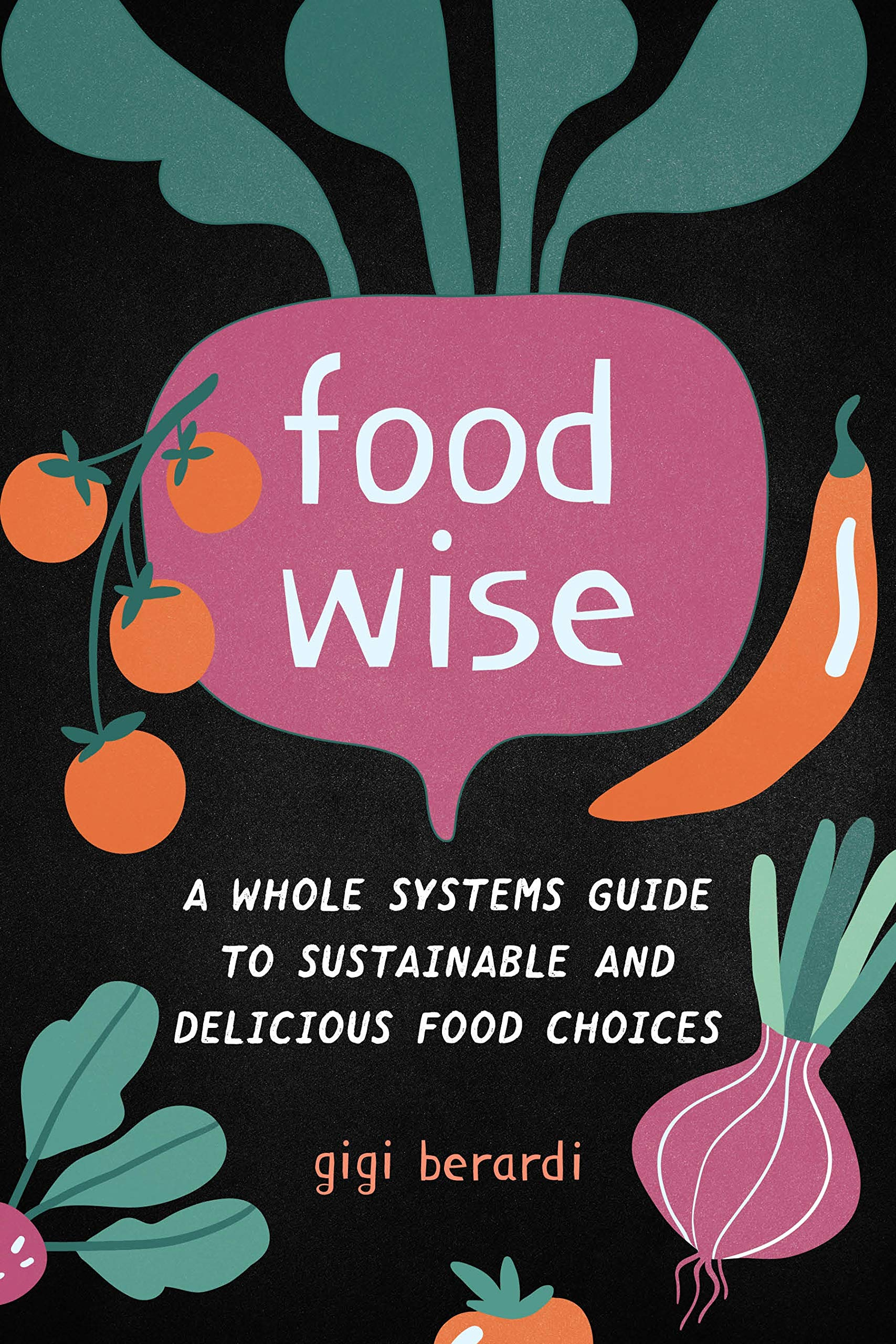 FoodWISE cover shows title and author surrounded by cartoon veggies