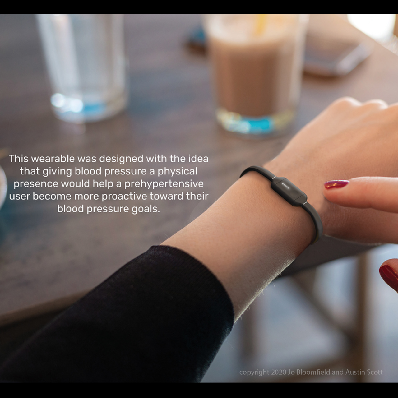 """""""Lo"""" is a wearable device that focuses on hypertension,encourages blood pressure awareness,and is targeted towards people in their early 20s."""