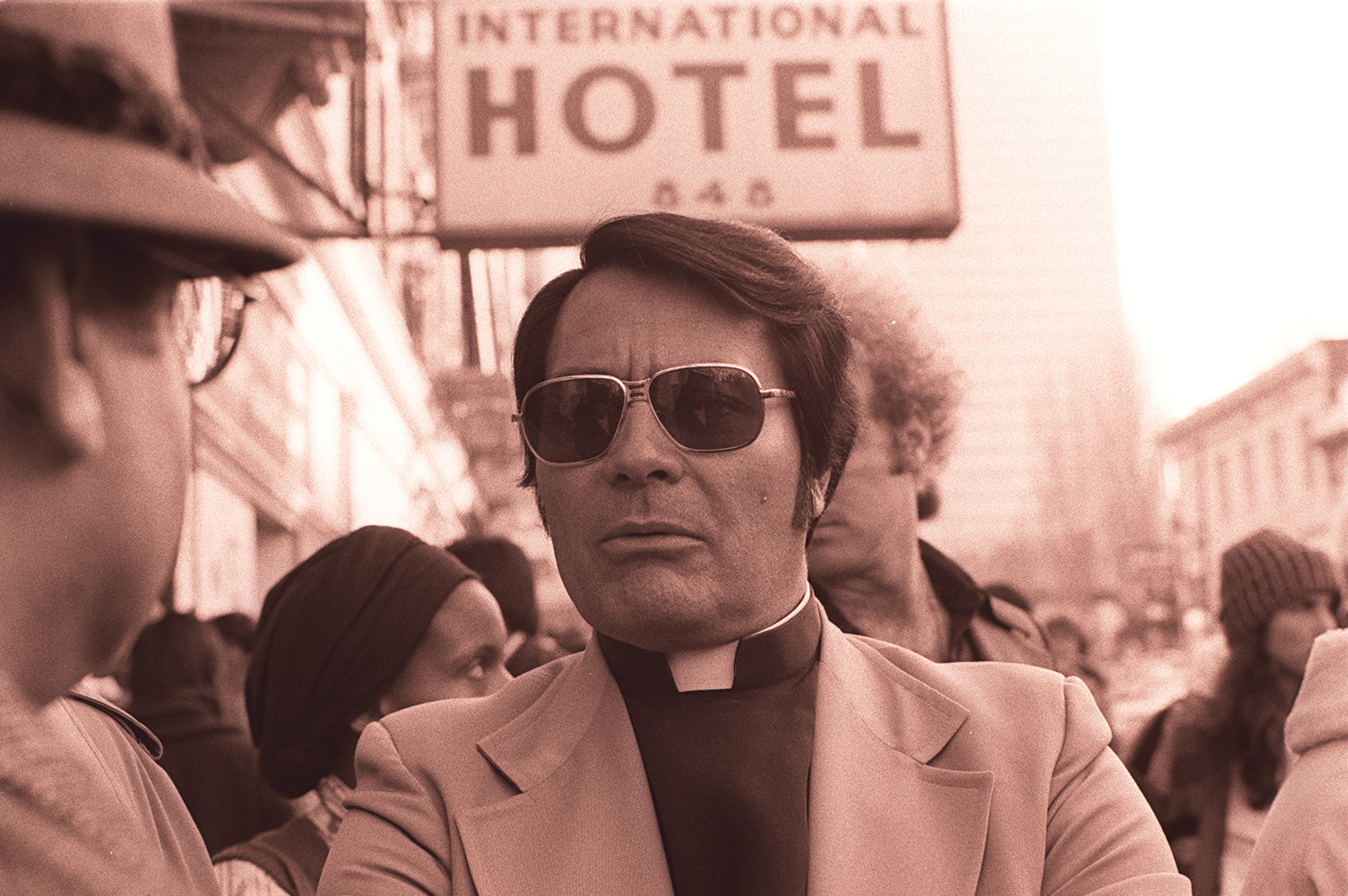 Jim Jones, leader of the Peoples Temple, at a protest in San Francisco in 1977
