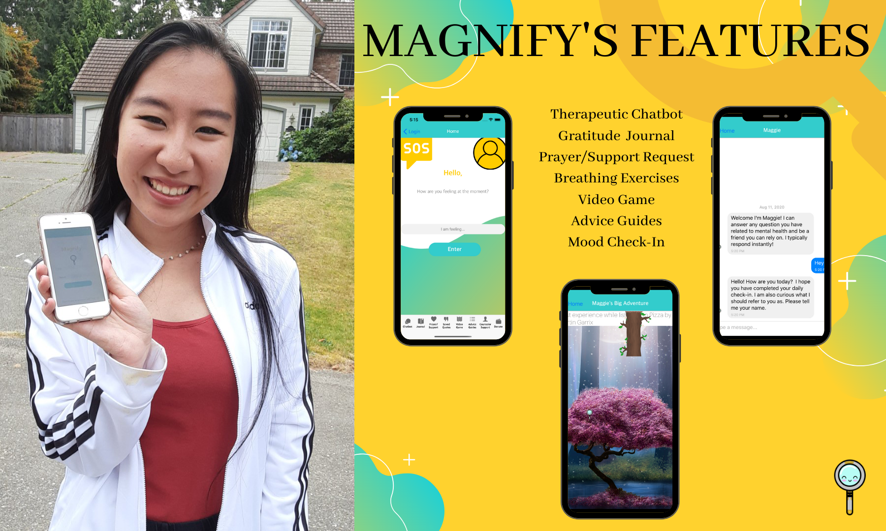side by side of Abigayle Peterson and features of Abigayle's app Magnify