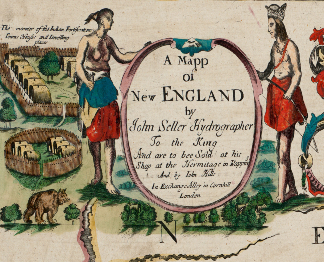 """cover of """"Map of New England"""" book from the 1700s"""