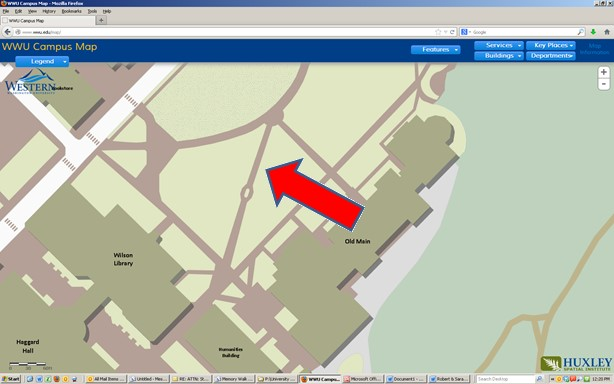 map screenshot showing the location of Molly's brick in front of Old Main