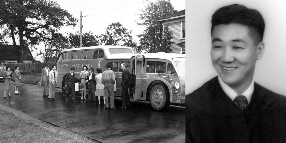Two photos black and white photos, one showing Japanese Americans boarding a bus in 1942, another a portrait of a young man