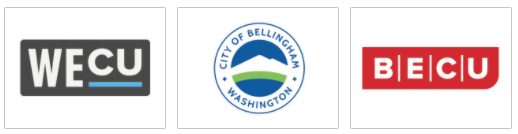 logos of the sponsors for Paint Bellingham Blue: WECU, BECU, and the City of Bellingham