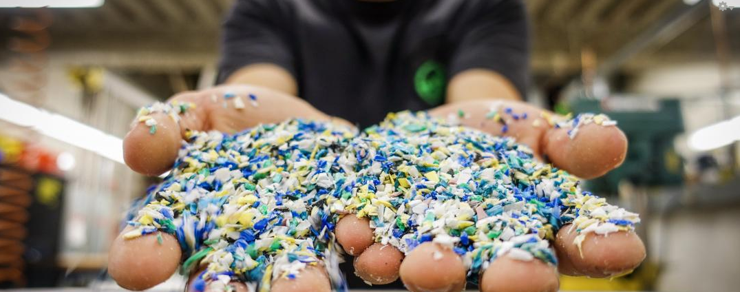 This ground up plastic is about to be melted and turned back into usable plastic