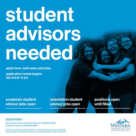 There are openings as an Orientation Student Advisor (OSA) within the office of New Student Services/Family Outreach and openings as an Academic Student Advisor (ASA) within the Academic Advising Center.