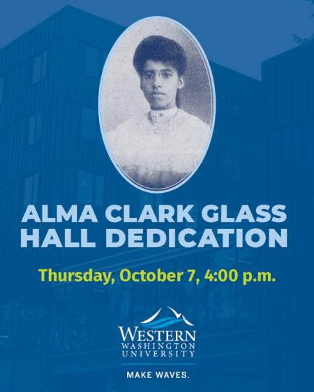 Flyer with details of the Alma Clark Glass Hall dedication ceremony