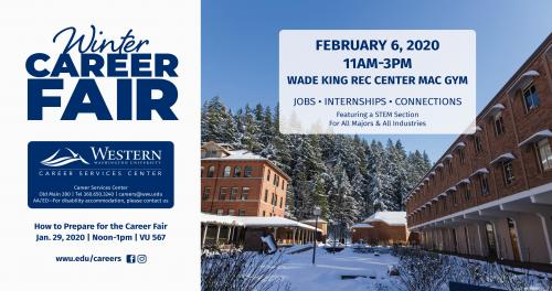 Job seekers looking for ways to connect directly with employers are invited to attend Western Washington University's Winter Career Fair, which will take place from 11am to 3pm on Thursday, February 6th in the Wade King Student Recreation Center MAC Gym.