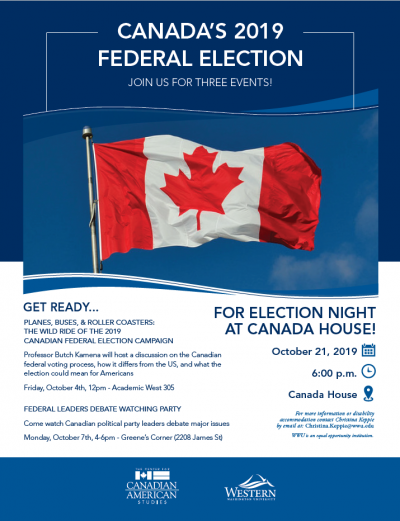 poster: Can-am hosting series of events for Canada's election