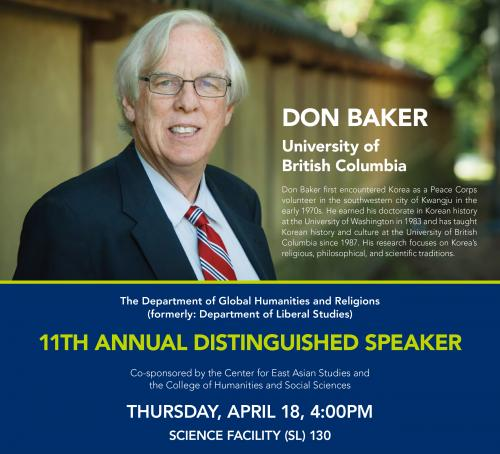 UBC's Don Baker to present 'The Two Koreas' April 18