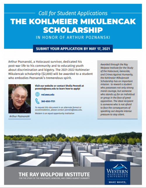 Submit your application for the Kohlmeier scholarship by May 17