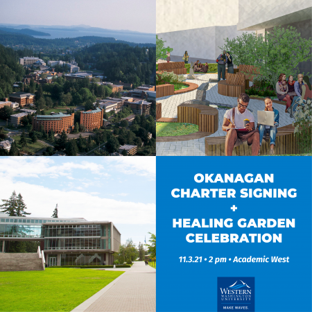 posters has times and dates for the signing of the Okanagan Charter, mixed with a pair of shots of south campus