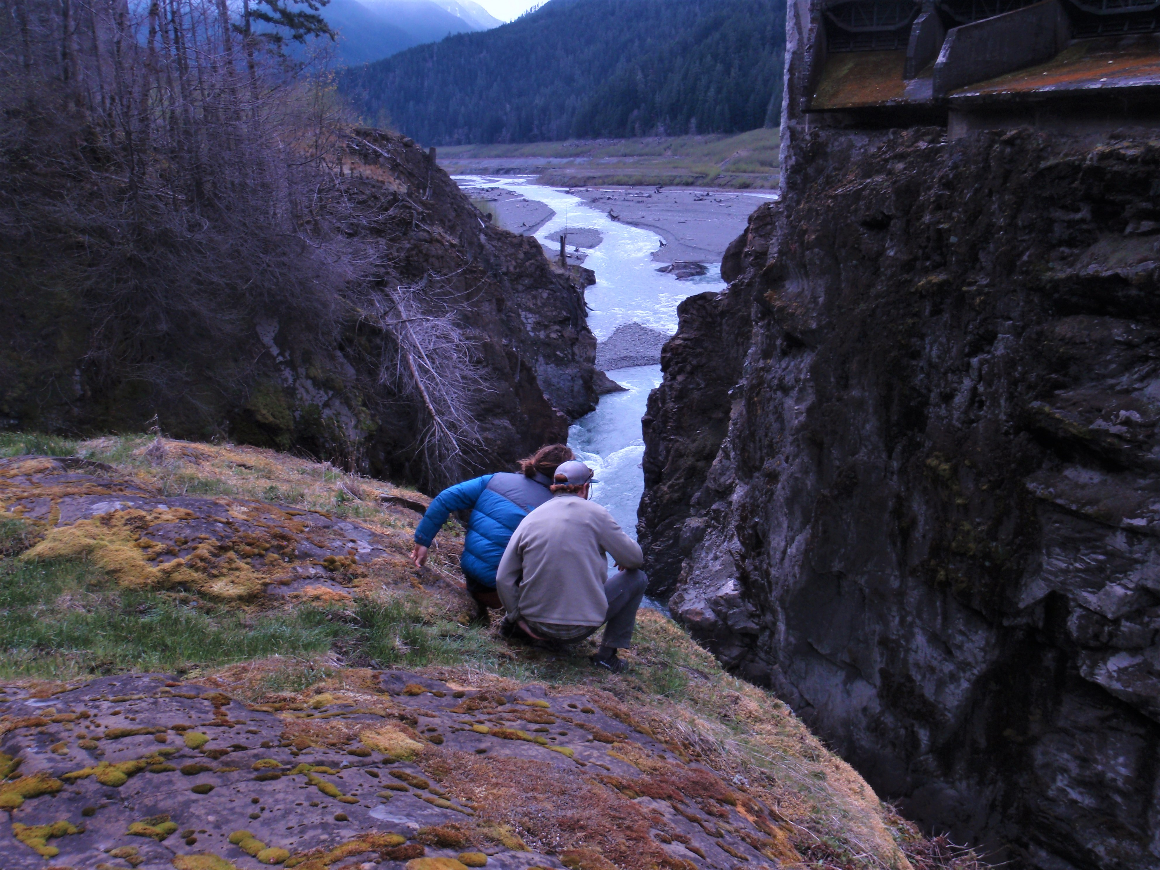 Students peer into Glines Canyon on the Elwha River, site of the former Glines Canyon dam.