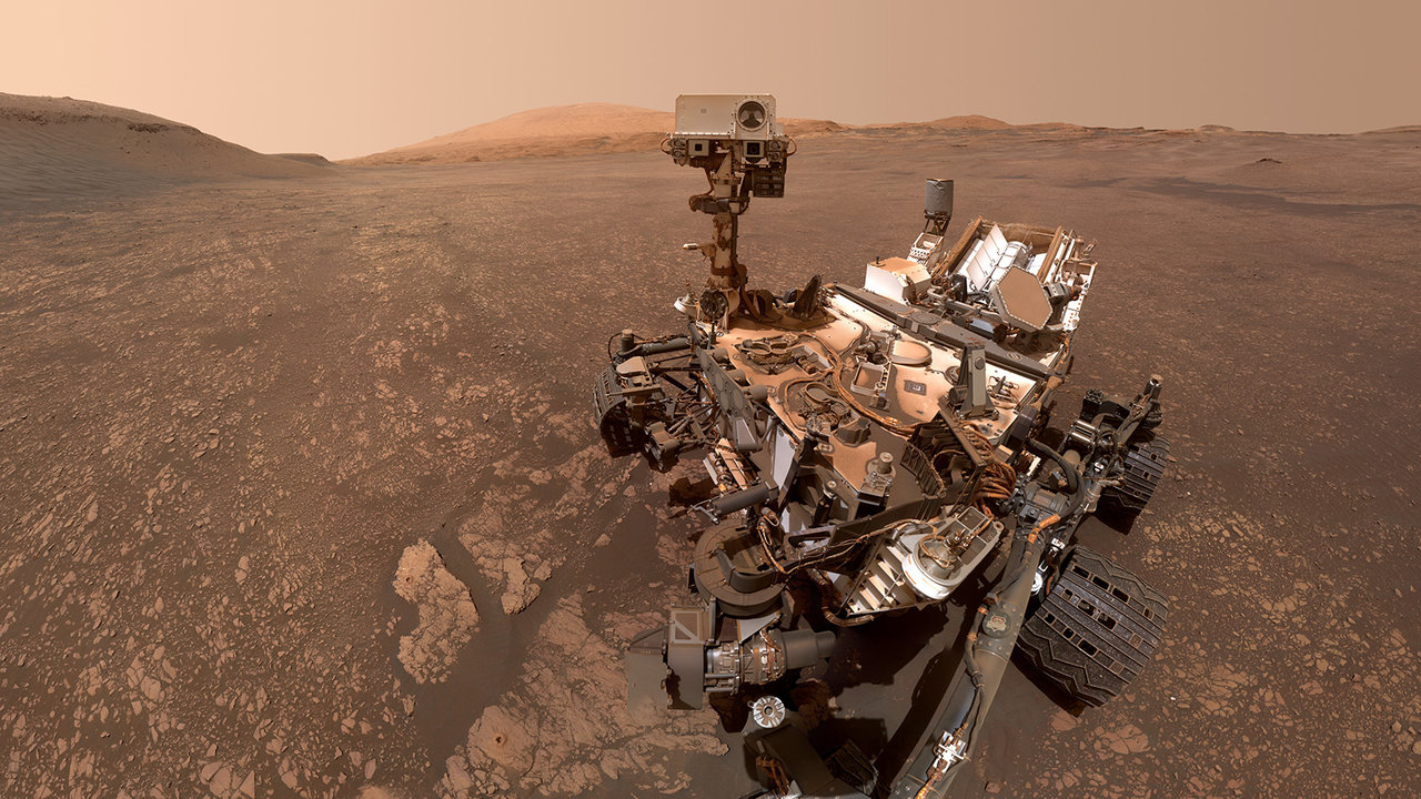 The Curiosity rover takes a selfie in Gale Crater on Mars last May.
